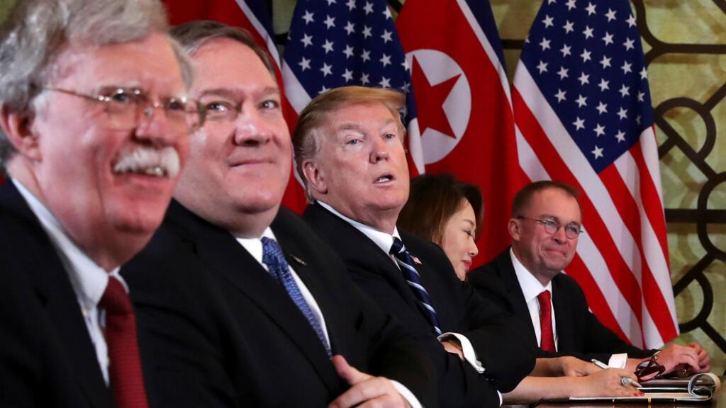 Foto de archivo del presidente de Estados Unidos, Donald Trump, el secretario de Estado de Estados Unidos, Mike Pompeo y del asesor de seguridad nacional de la Casa Blanca, John Bolton, en Hanói, Vietnam el 28 de febrero de 2019.