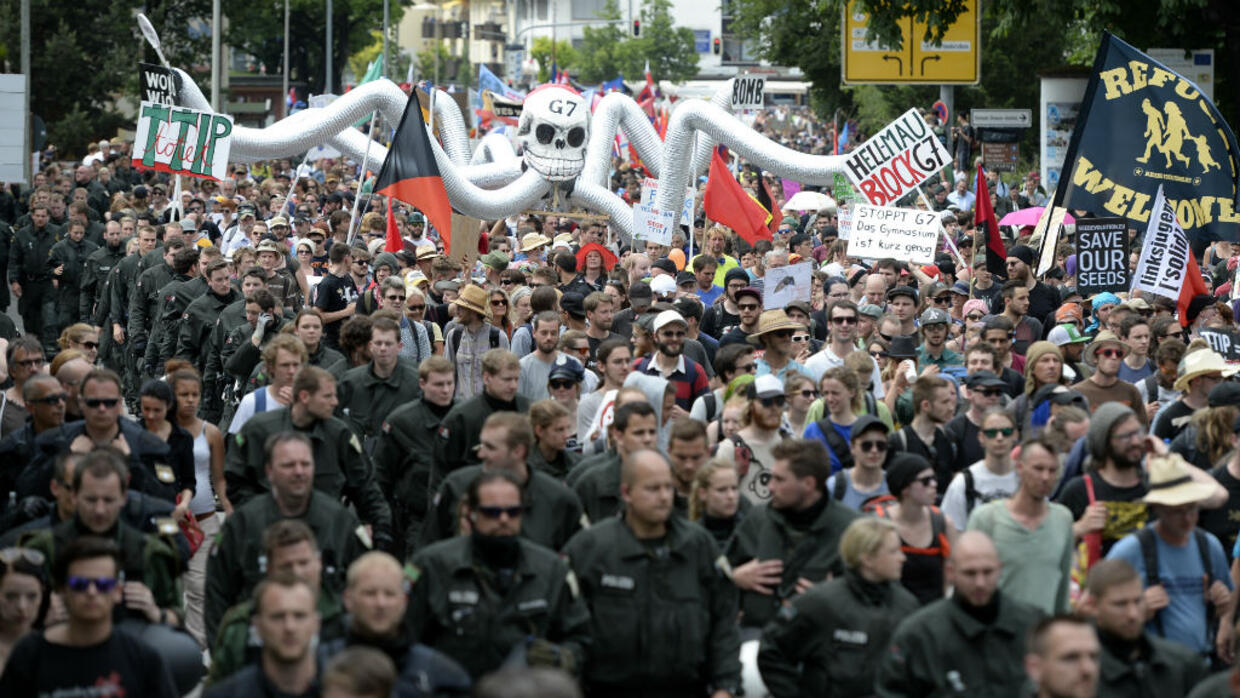 Protesters Clash With Police Ahead Of G7 Summit