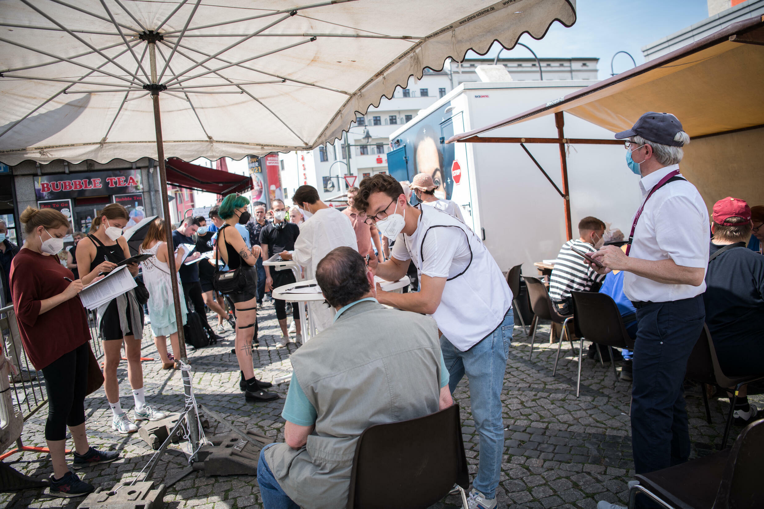 A mobile pop-up vaccination station in Berlin's Neukoelln district.