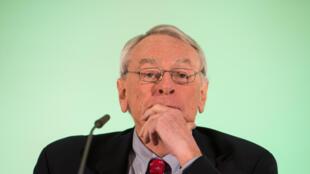 Richard Pound alors président de l'Agence mondiale antidopage, le 14 janvier 2016 à Unterschleissheim près de Munich