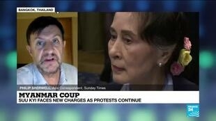 2021-03-01 14:17 Myanmar coup: Suu Kyi faces new charges as protests continue