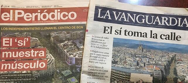 Les unes d'El Periodico et de La Vanguardia, deux quotidiens catalans.