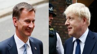 وزير الخارجية البريطاني جيريمي هانت (يسار) والمرشح عن حزب المحافظين بوريس جونسون، لندن 22 يوليو/تموز 2019