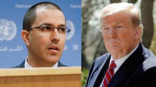 A la izquierda, el canciller venezolano, Jorge Arreaza; y a la derecha, el presidente estadounidense, Donald Trump.