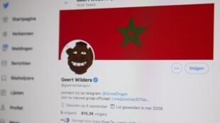 Un ordenador fotografiado el 16 de julio de 2020 en La Haya muestra el perfil del líder del partido holandés PVV, Geert Wilders, una de las presuntas víctimas del pirateo
