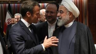Emmanuel Macron et Hassan Rohani lors de leur entretien, à New York, le 23 septembre 2019.