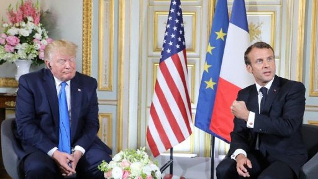 الرئيسان الفرنسي إيمانويل ماكرون والأمريكي دونالد ترامب. 6 يونيو/حزيران 2019 في كاين (فرنسا).