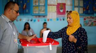 Un bureau de vote pour la présidentielle tunisienne, à Tunis, le 15septembre2019.