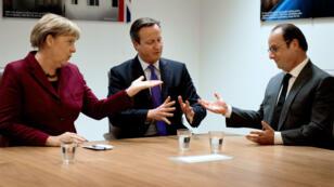 Angela Merkel, David Cameron et François Hollande, le 15 octobre 2015.
