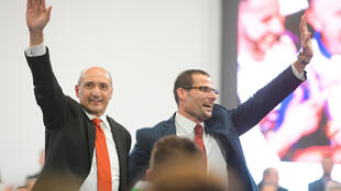 Malta Health Minister Chris Fearne, pictured on the left with Prime Minister Robert Abela in January. Malta has given at least one Covid-19 jab to 10 percent of its population
