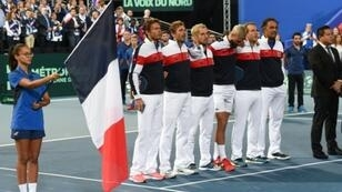 L'équipe de France de tennis lors des demi-finales de Coupe Davis face à l'Espagne le 14 septembre 2018 à Villeneuve-d'Ascq