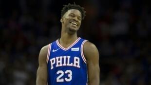 Jimmy Butler des Philadelphia 76ers face aux Brooklyn Nets en play-offs NBA, le 23 avril 2019 à Philadelphie