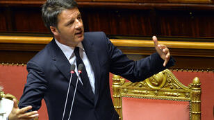 Italy's Prime Minister Matteo Renzi gives a speech in parliament on April 22, 2015