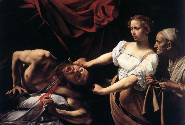 "The painting ""Judith Beheading Holofernes"", by Caravaggio, at the Galleria Nazionale d'Arte Antica in Rome"