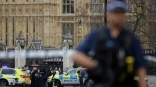 انتشار للشرطة أمام مدخل البرلمان في 22 آذار/مارس 2017