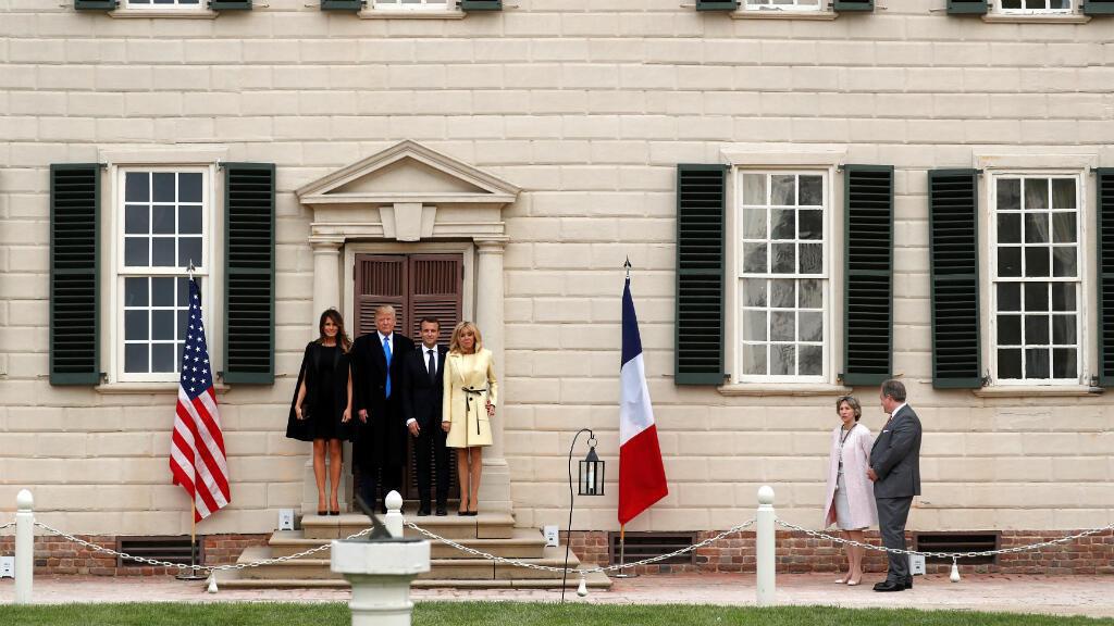 El presidente francés, Emmanuel Macron, y su esposa, Brigitte Macron, llegaron a Washington para su visita de estado y reuniones con el presidente estadounidense Donald Trump. Abril 23 de 2018.