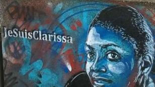 Un graffiti représentant Clarissa Jean-Philippe, réalisé à l'endroit où la jeune policière est décédée, à Montrouge.