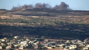 هضبة الجولان في حزيران/يونيو 2015 عقب قصف للنظام السوري