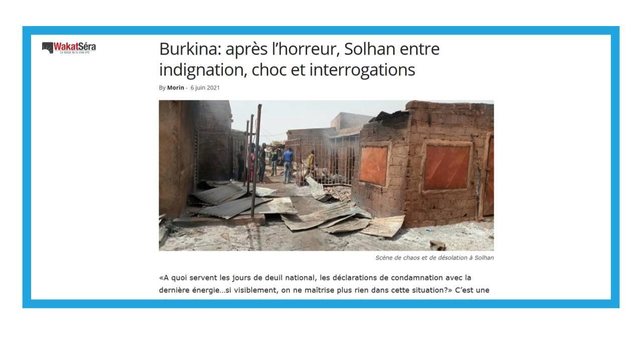 Au moins 160 civils tués dans l'attaque contre le village de Solhan, au Burkina Faso