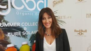 Mareva Galanter à l'origine des jus Good Organic Only, pendant le Festival de Cannes, le 13 mai 2016.