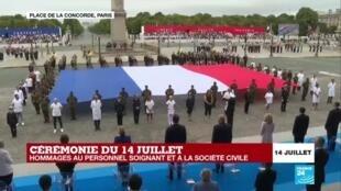 2020-07-14 11:54 Cérémonie du 14 juillet : hommage au personnel soignant en première ligne durant la crise du Covid-19