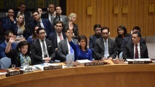 Réunion du Conseil du Conseil de sécurité de l'ONU, le 14 avril 2018.