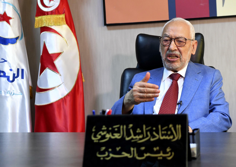 رئيس البرلمان التونسي وزعيم حركة النهضة راشد الغنوشي خلال مقابلة مع وكالة فرانس برس في مكتبه بالعاصمة تونس في 29 تموز/يوليو 2021
