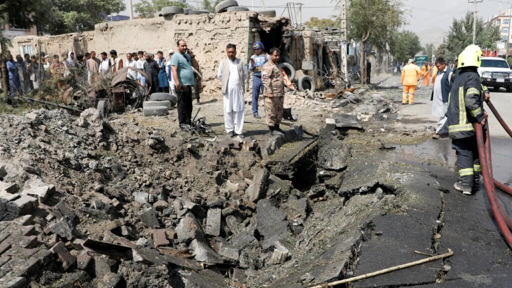 La destrucción de los comercios de la zona del atentado fue casi total. En Kabul, Afganistán, el 9 de septiembre de 2020.