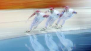 Des athlètes russes pendant une épreuve des JO de Sotchi, en 2014.