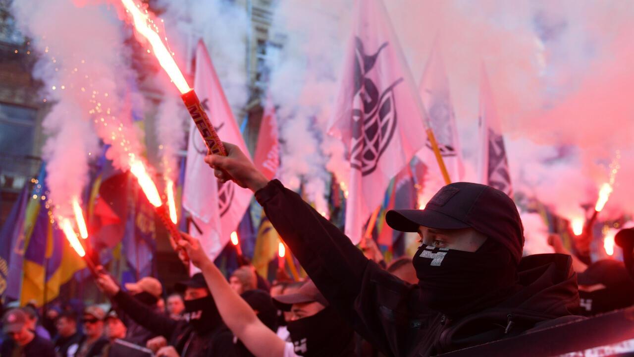 Manifestantes ultra-nacionalistas se manifiestan en Kiev en octubre de 2018 en una imagen de archivo