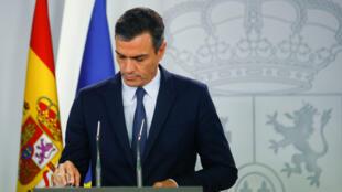 El presidente del Gobierno en funciones de España, Pedro Sánchez, celebra una conferencia de prensa en el Palacio de la Moncloa después de una reunión con el rey Felipe en Madrid, España, el 17 de septiembre de 2019.