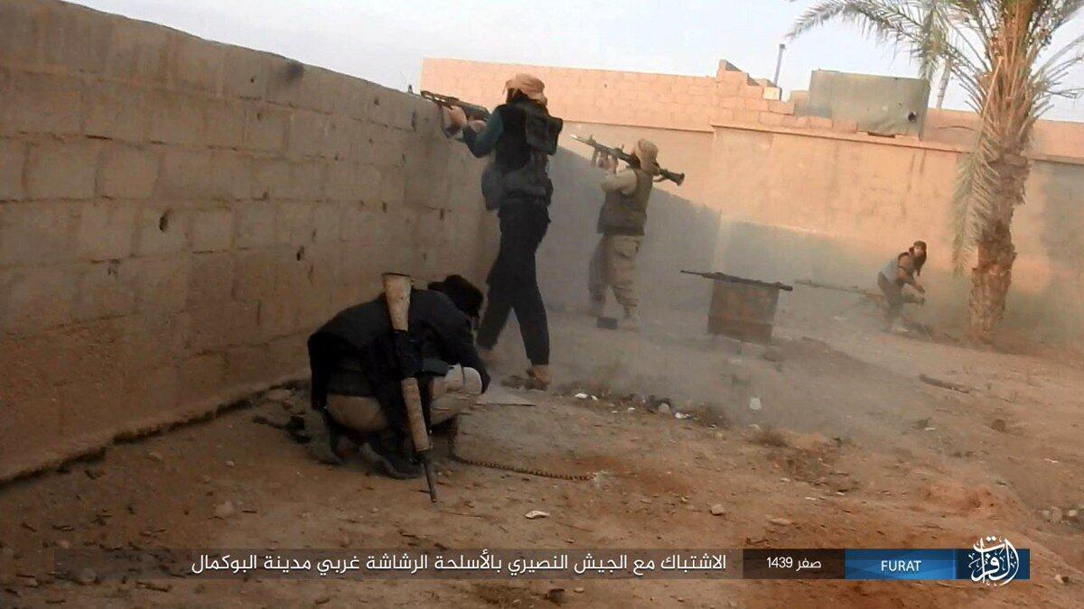 Photographie de propagande de l'organisation État islamique montrant des jihadistes dans la ville syrienne de Boukamal, à la frontière avec l'Irak, mi-novembre.
