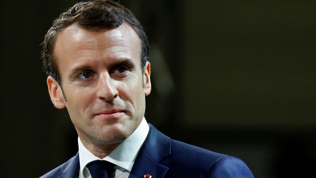 Emmanuel Macron adressant ses voeux aux armées, le 17 janvier 2019 à Toulouse.