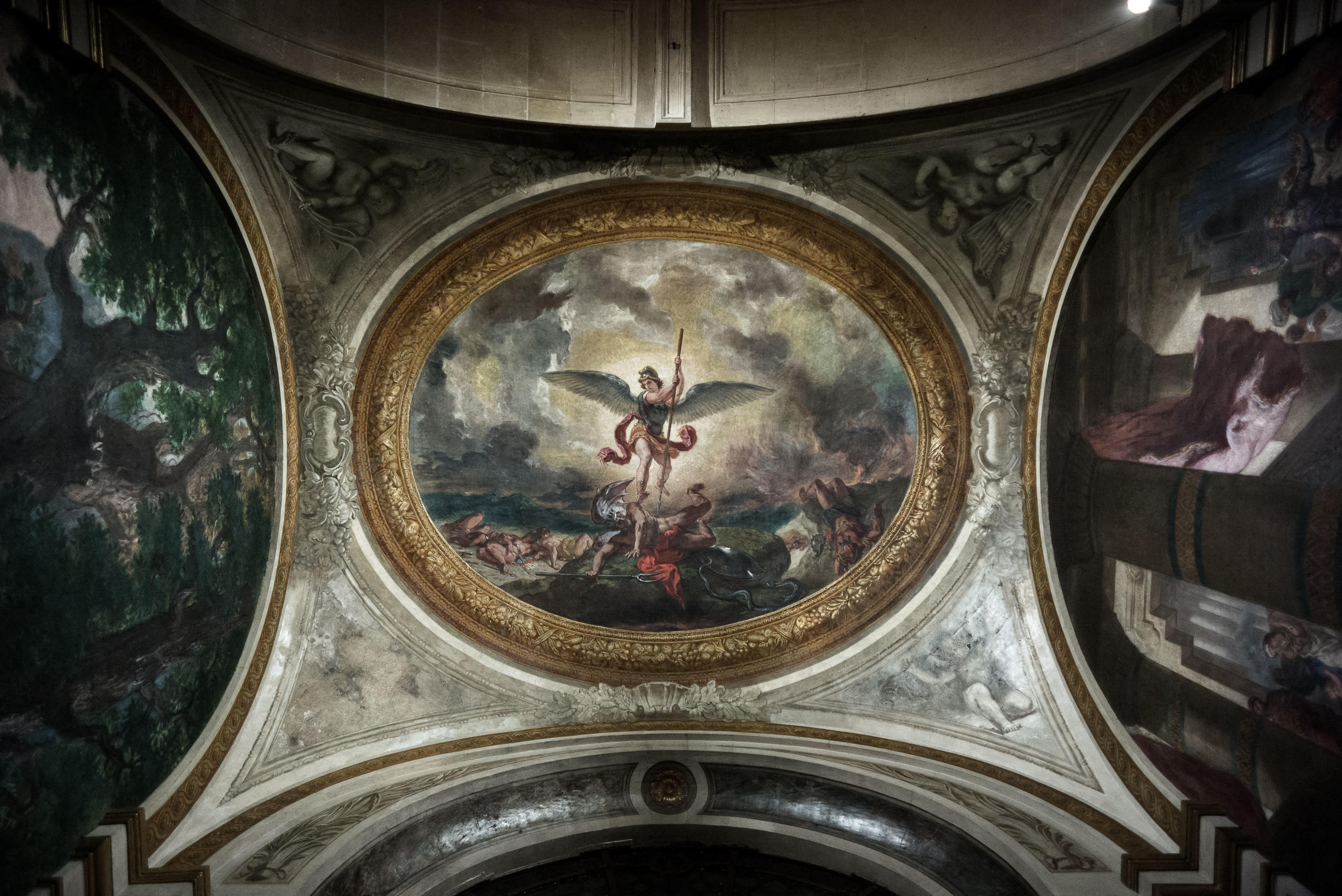 "Eugène Delacroix's recently restored fresco of ""St. Michael killing the Dragon"", in the church of Saint-Sulpice."