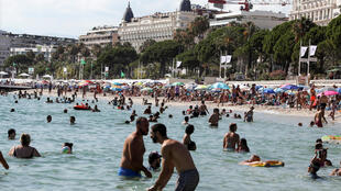 The beach of the Croisette in Cannes, pictured on July 8, 2020. Officials said a possible resurgence of Covid-19 would depend on how people behave in the coming months.