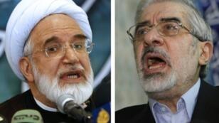 صورة مركبة للمسؤولين الاصلاحيين الايرانيين مير حسين موسوي في 2009 ومهدي كروبي في 2008