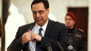 حسن دياب يتحدث لوسائل الإعلام بعد تعيينه رئيس وزراء لبنان، في القصر الرئاسي في بعبدا، لبنان 19 ديسمبر/كانون الأول 2019