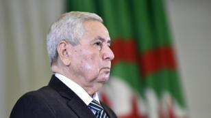 Le président algérien par intérim Abdelkader Bensalah, lors d'une session parlementaire au Conseil de la nation, le 9 avril 2019, à Alger.