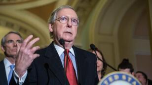 Le leader des Républicains au Sénat, Mitch McConnell donne une conférence de presse le 20 janvier.