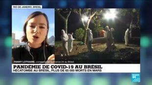 2021-04-02 14:34 Pandémie de Covid-19 au Brésil : hécatombe au Brésil, plus de 65 000 morts en mars