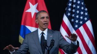 Barack Obama lors de son discours au grand théâtre Alicia-Alonso, à La Havane, le 22 mars.