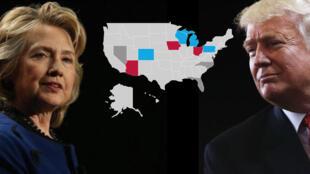 Une dizaine d'États-clés, les Swing States, feront la différence, le 8 novembre, entre Donald Trump et Hillary Clinton.