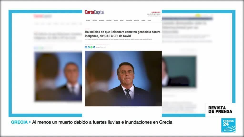 """""""Indicios de genocidio"""" de Bolsonaro contra indígenas, destacados por el periódico brasileño Carta Capital."""
