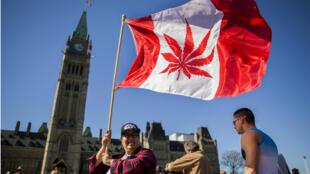 """Des Canadiens rassemblés devant le Parlement à Ottawa lors de la """"journée du cannabis"""", le 20 avril 2016."""