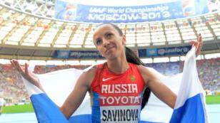 L'athlète russe Mariya Savinova lors des Mondiaux d'athlétisme, le 18 août 2013 à Moscou.