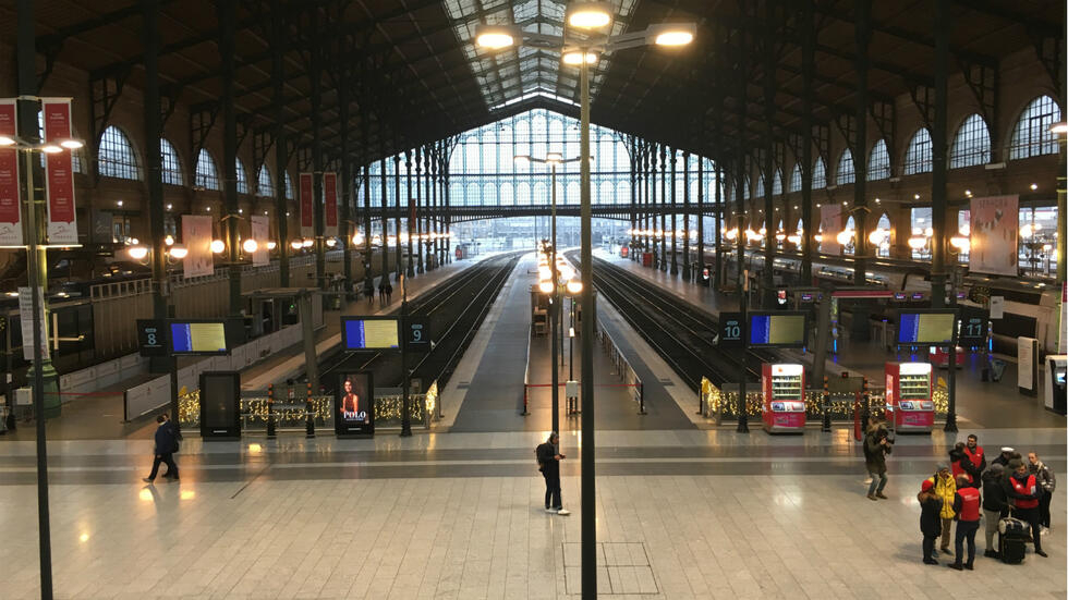 A virtually empty morning inside the Gare du Nord train station in Paris as a mass strike over pension reform began nationwide on December 5, 2019.