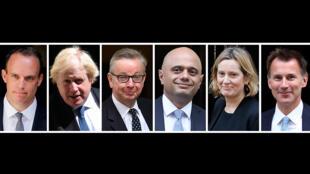 Six des successeurs potentiels à Theresa May: de gauche à droite, Dominic Raab, Boris Johnson, Michael Gove, Sajid Javid, Amber Rudd et Jeremy Hunt.