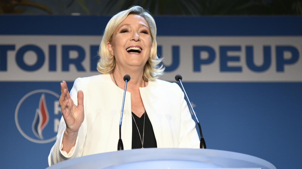 Marine LePen, dimanche 26 mai2019, après la victoire du Rassemblement national aux élections européennes.