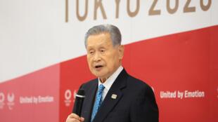 Yoshiro Mori anuncia su dimisión en una reunión de la dirección del comité organizador de los Juegos Olímpicos, el 12 de febrero de 2021 en Tokio