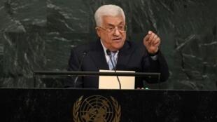 الرئيس الفلسطيني محمود عباس يلقي خطابا أمام الجمعية العامة للأمم المتحدة في 20 أيلول/سبتمبر 2017
